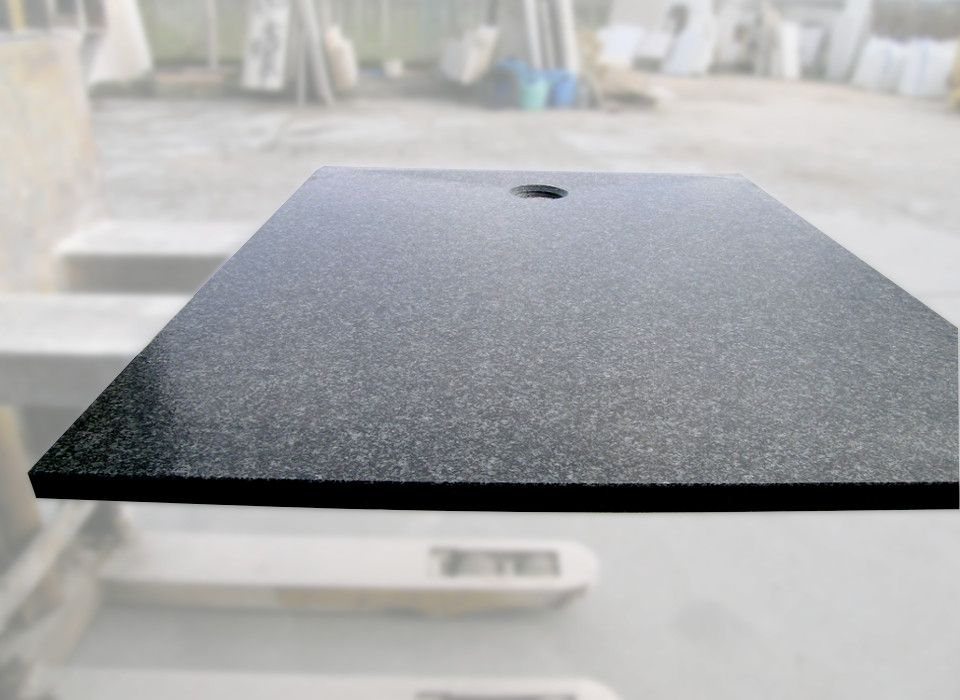 NEWS 2014!  Shower tray Flora in granite NERO AFRICA. made with a sloping and brushed bottom, and drain hole lateral. Shower tray dimension 120 x 90 x 3cm.