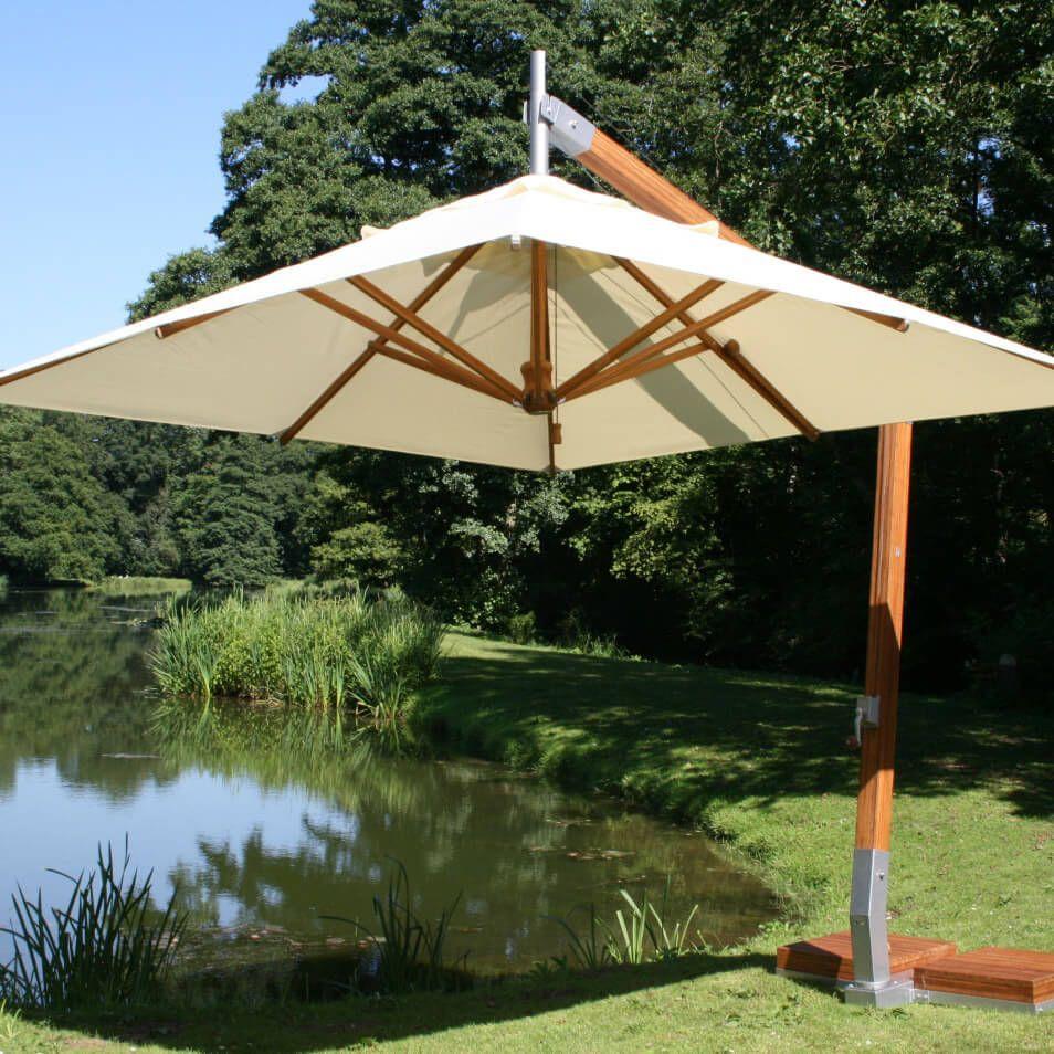 Bambrella Side Wind 10 X 13 Rectangular Bamboo Cantilever Ecru Patio Outdoor Cantilever Umbrella