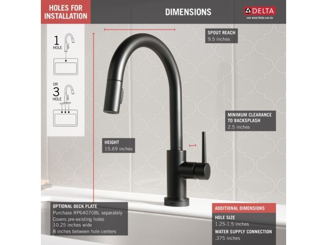 9159t bl dst trinsic single handle pull down kitchen faucet with rh pinterest com