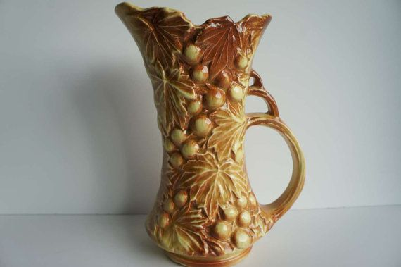 Vintage Mccoy Pottery Vase Pitcher Grapes Brown And Yellow Fiesta