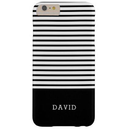 Black And White Stripes With Custom Name Barely There iPhone 6 Plus ...