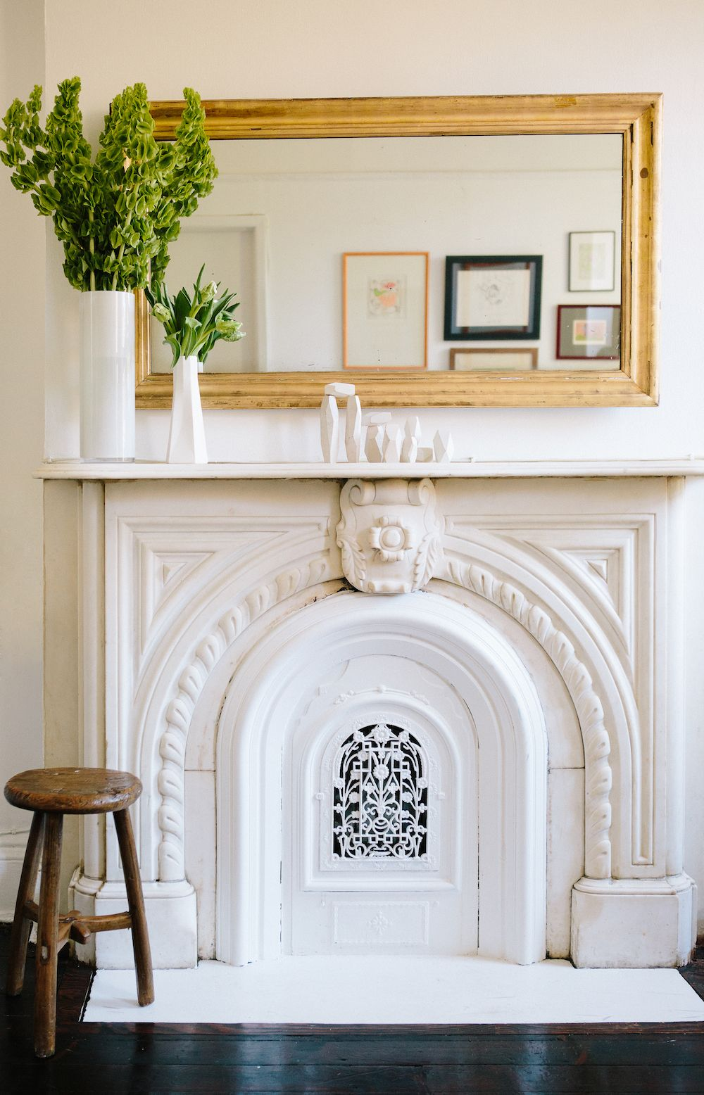 A welcoming fort greene apartment white fireplace forts and