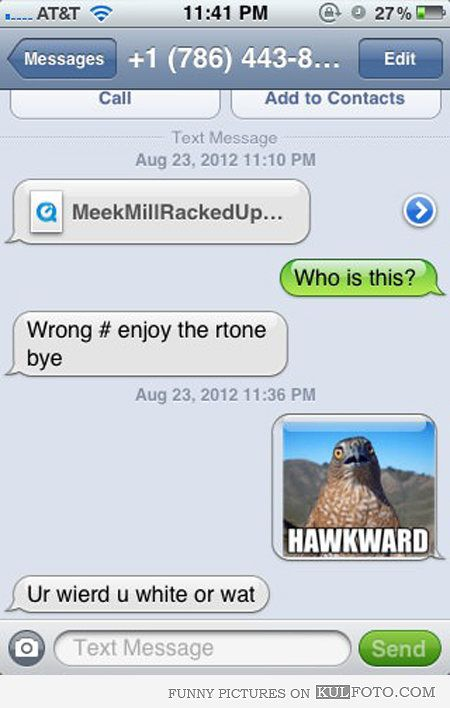 Funny Wrong Number Texts re weird, are you white