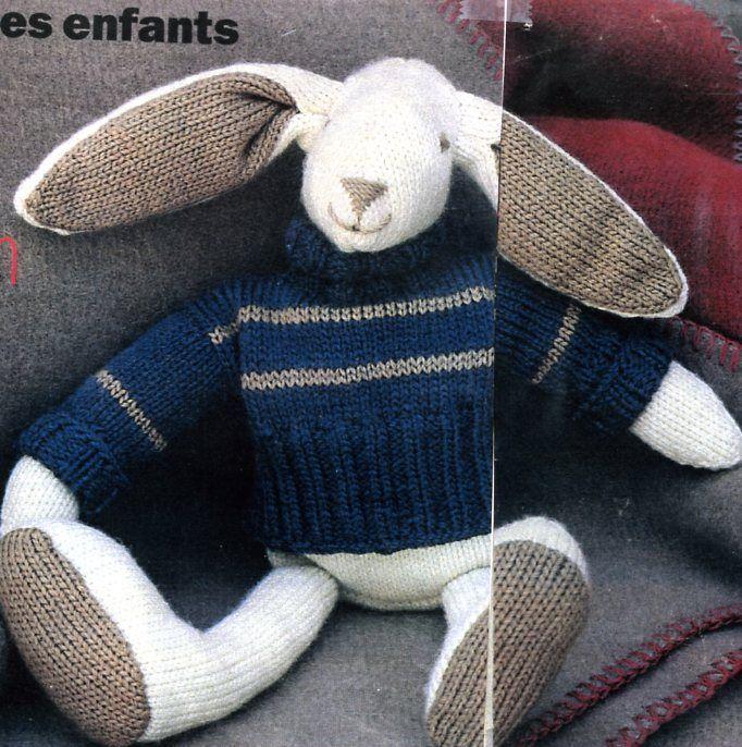 modèle doudou au tricot gratuit | doutons lapin | Pinterest | Bebe