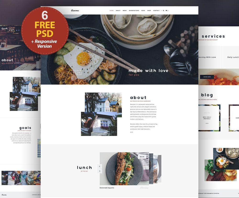 Cool Responsive Restaurant Website Free PSD Templates. Download ...