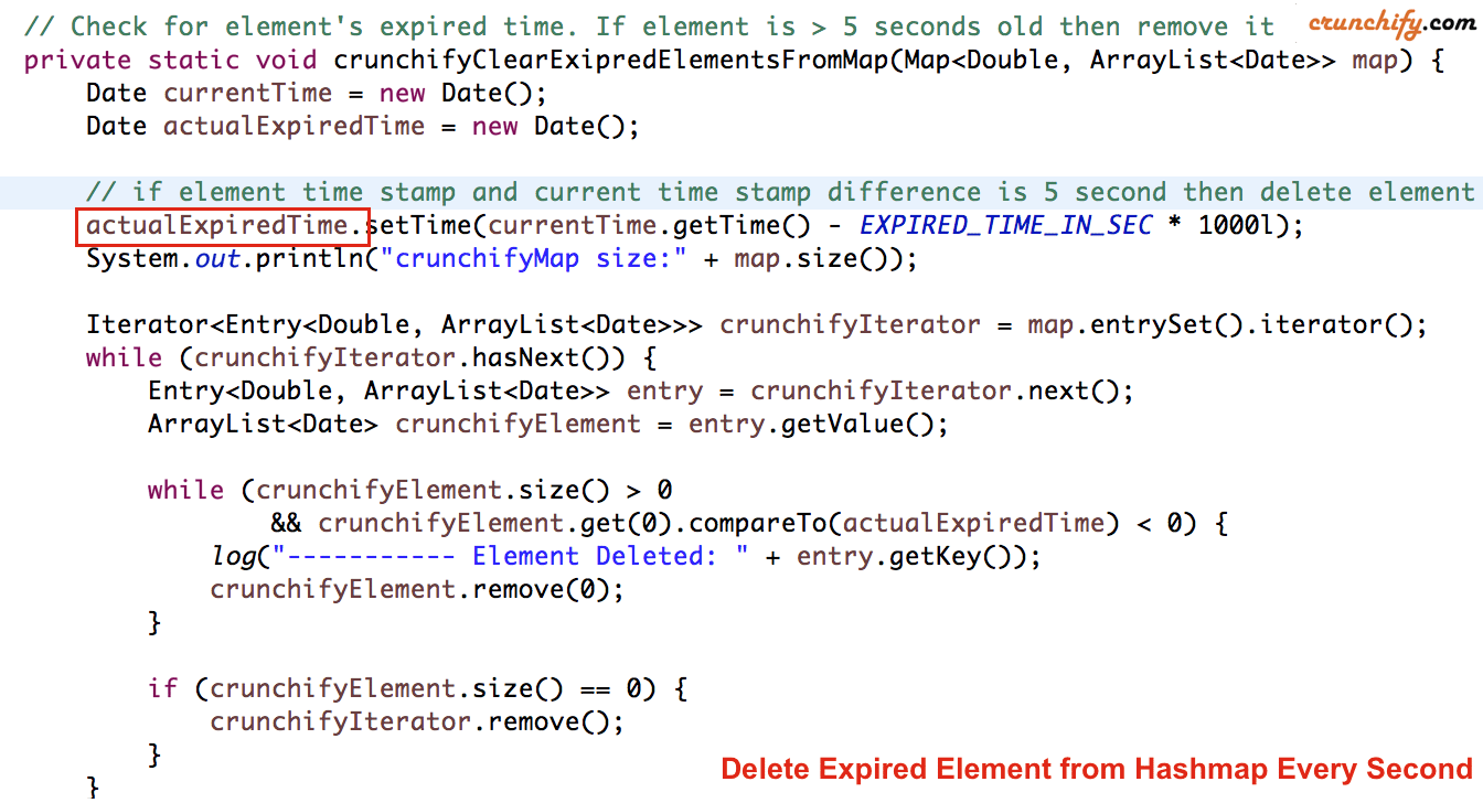 How To Remove Expired Elements From Hashmap And Add More Elements At