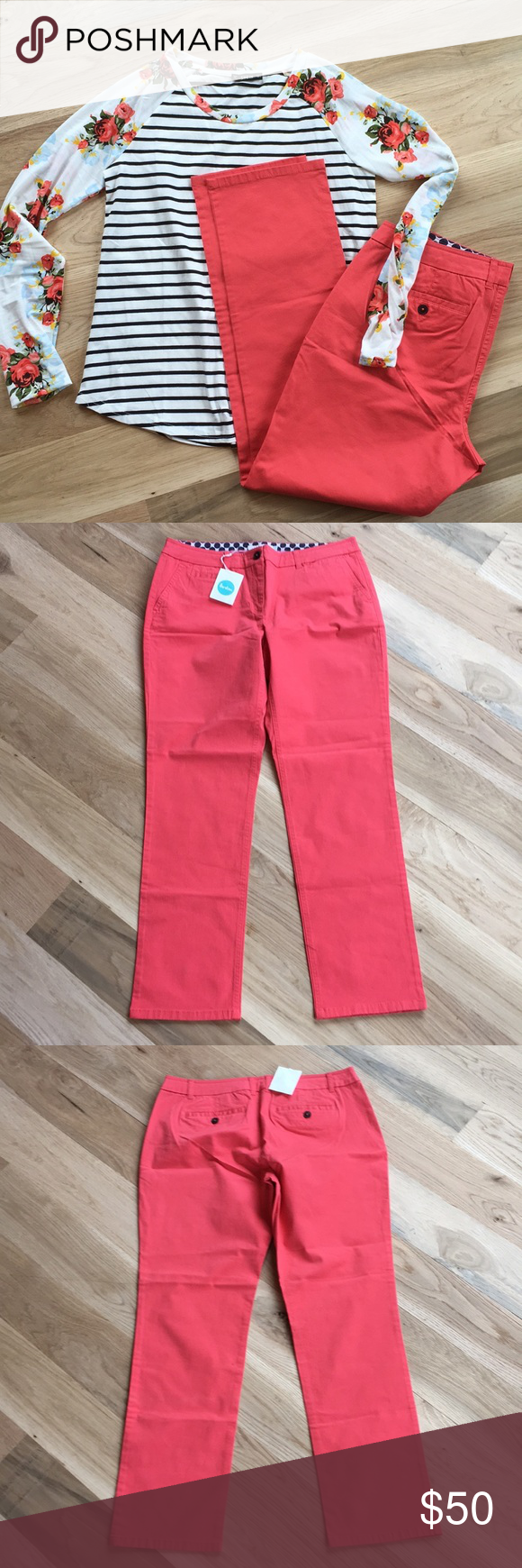 """Boden Coral Straight Leg Trousers 8 long Boden Coral Straight Leg Trousers Size 8 Long.  Waist 17"""", hips 21"""", rise 9.5"""" and inseam is 30"""". Boden Pants Trousers"""