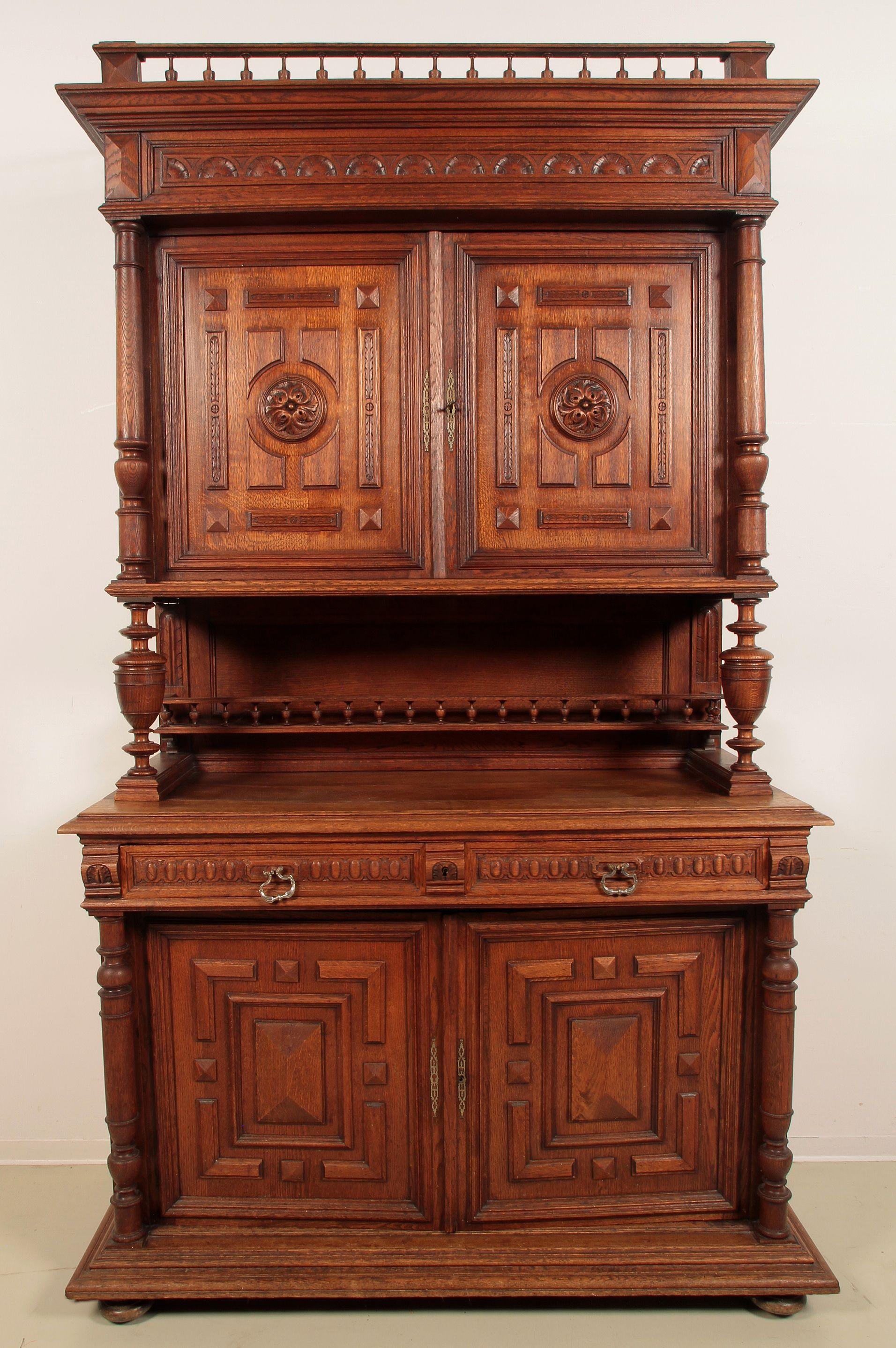 gr nderzeit buffet mit galerie epoche gr nderzeit holzart eiche ma e h he 245 cm breite. Black Bedroom Furniture Sets. Home Design Ideas