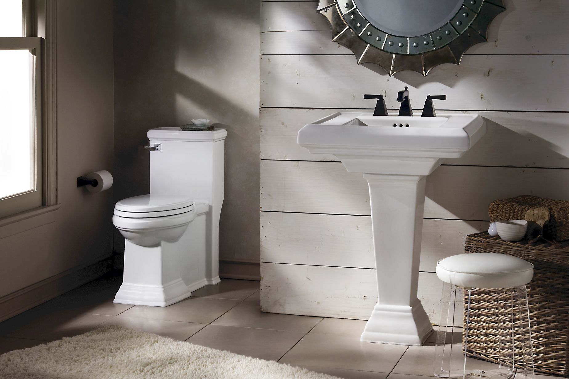 Stylish Bathroom With Toilet And Pedestal Sink By American
