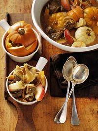 Pumpkin-cider stew...looks crazy weird with the little pumpkins in it.