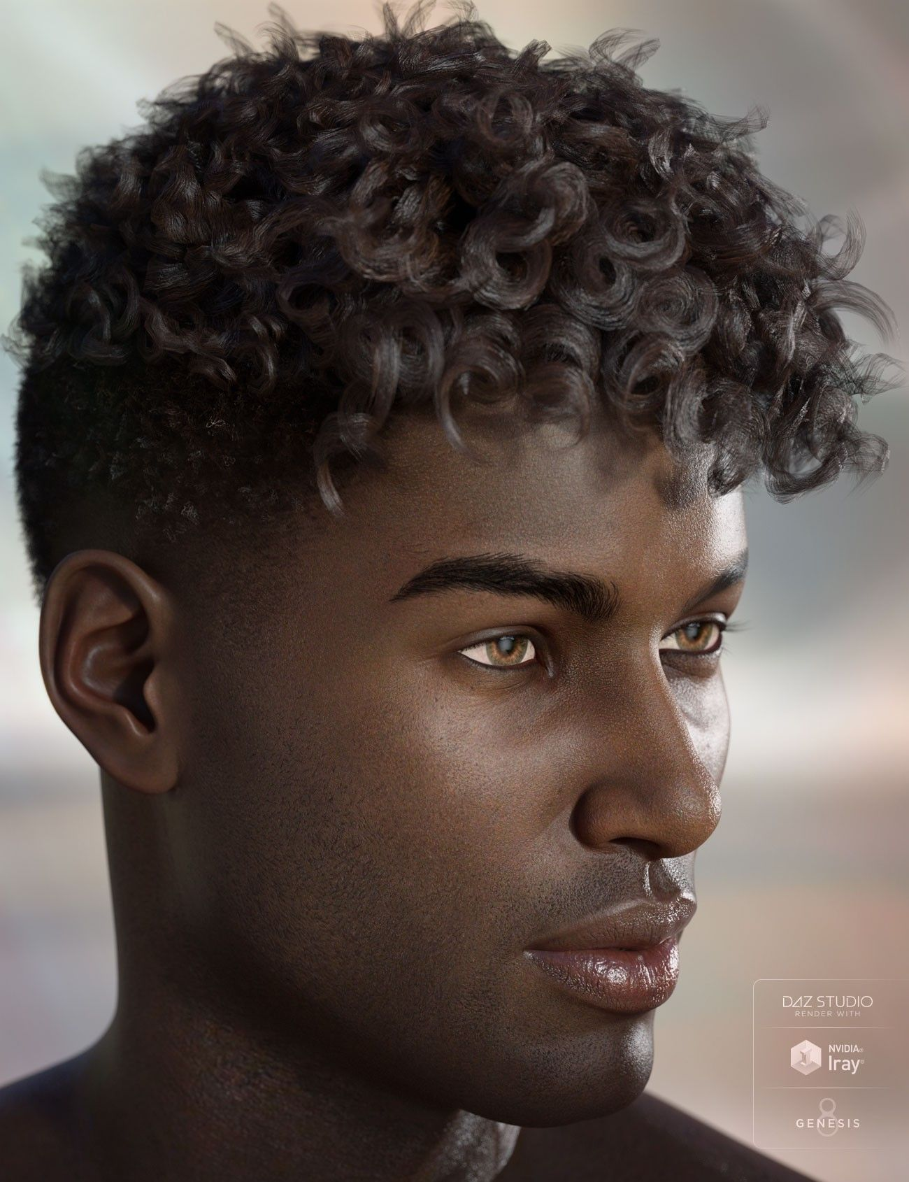 Black Hunk Green Eyes Render Tight Curly Hair Curly Perm Mens Hairstyles