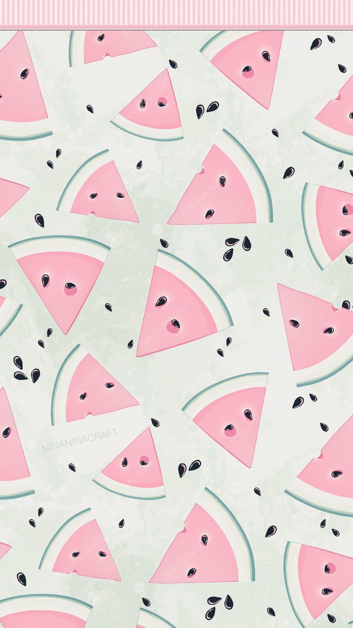 Pastel Cute Watermelon Clip Art Watermelon Digital Papers Summer Fruit Seamless Patterns Wallpaper Iphone Cute Watermelon Wallpaper Cute Watermelon