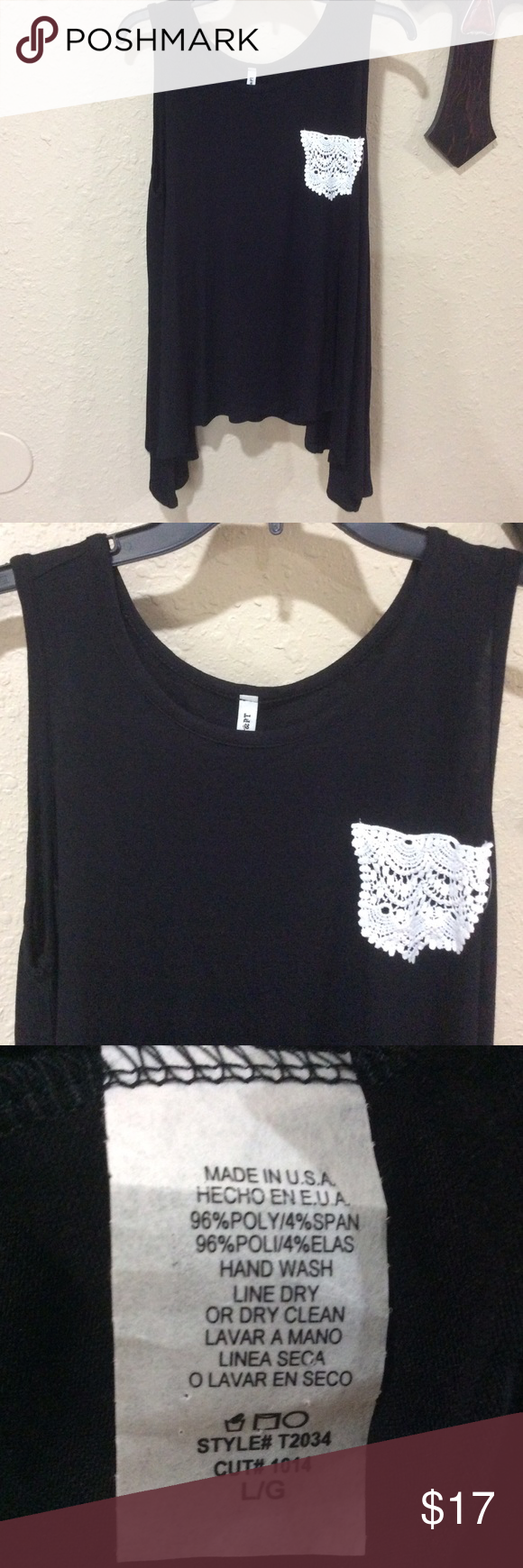 Black and white pocket tank This is a new, with tags attached, boutique style black tank with knit white pocket. Fast shipping from a smoke free home. Offers and questions welcome. Thank you for looking. Tops Tank Tops