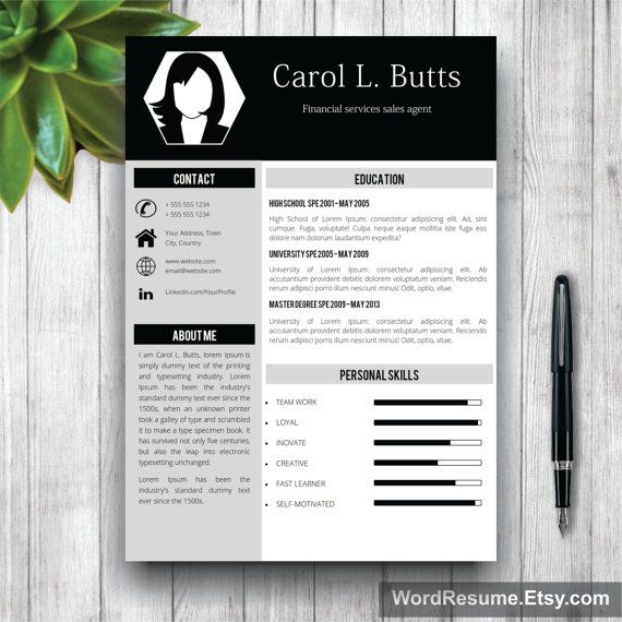 Professional Resume Template With Photo + Cover Letter / CV Template - resume template teacher