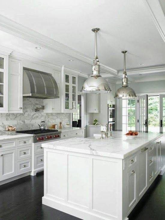 All white kitchen. Love the hood! Beautiful   White kitchen ...