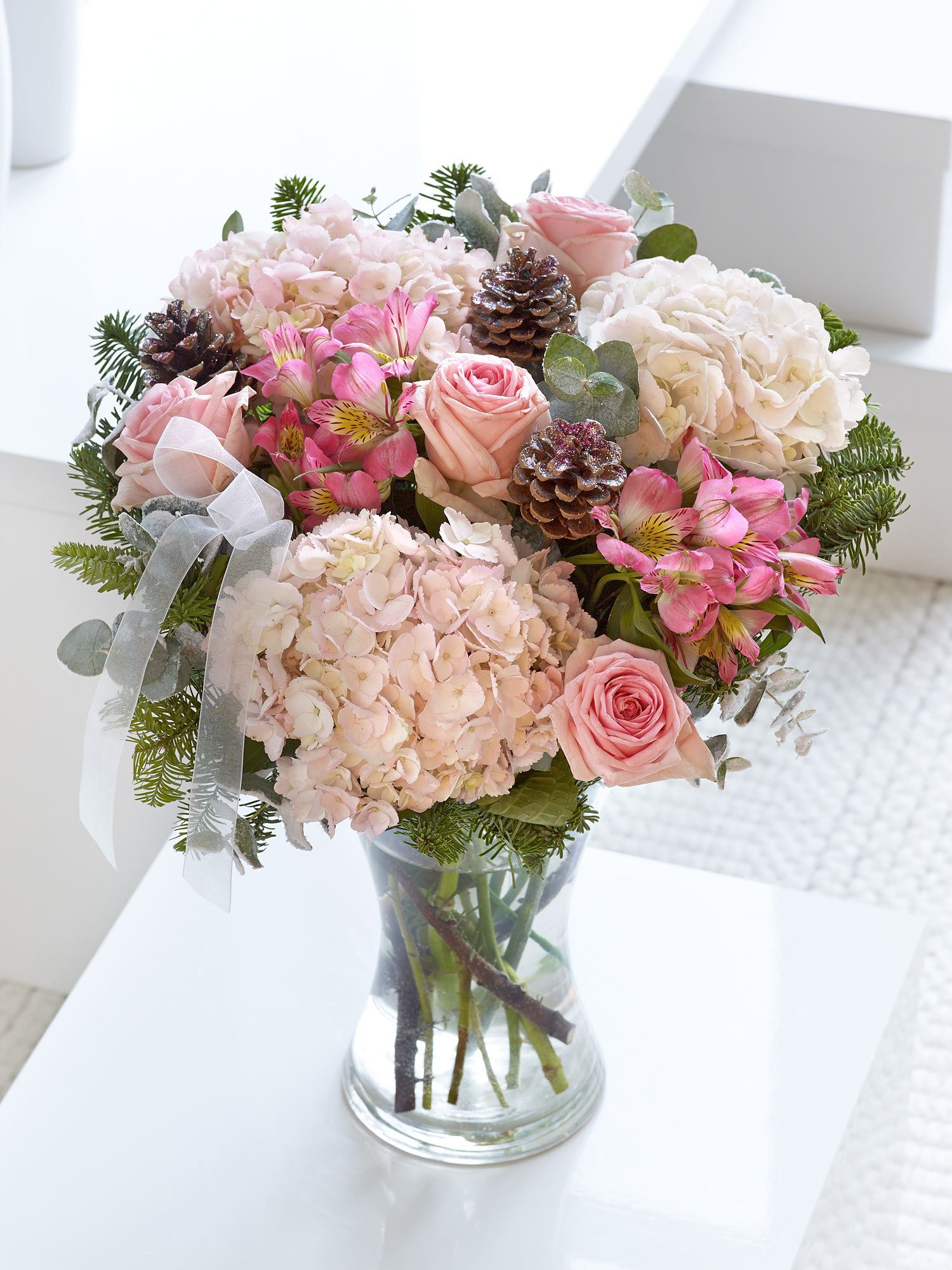 Pink Shades Of Flowers Work Equally As Well For Christmas This Exquisite Arrangement Features Hydrangea Alstroemeria And Sweet Dolomite Roses With