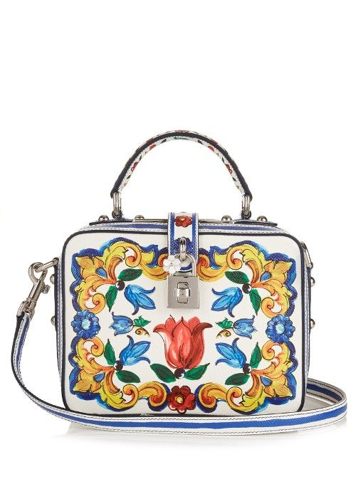 7b785b925a DOLCE   GABBANA Majolica-Print Leather Box Bag.  dolcegabbana  bags   shoulder bags  hand bags  leather  lining