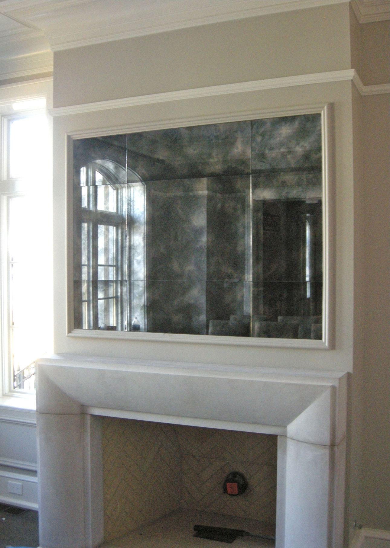 Antiqued Mirror Above The Fireplace Mirror Antique Custom Framed Mirrors Mirror Frames Foyer Wall