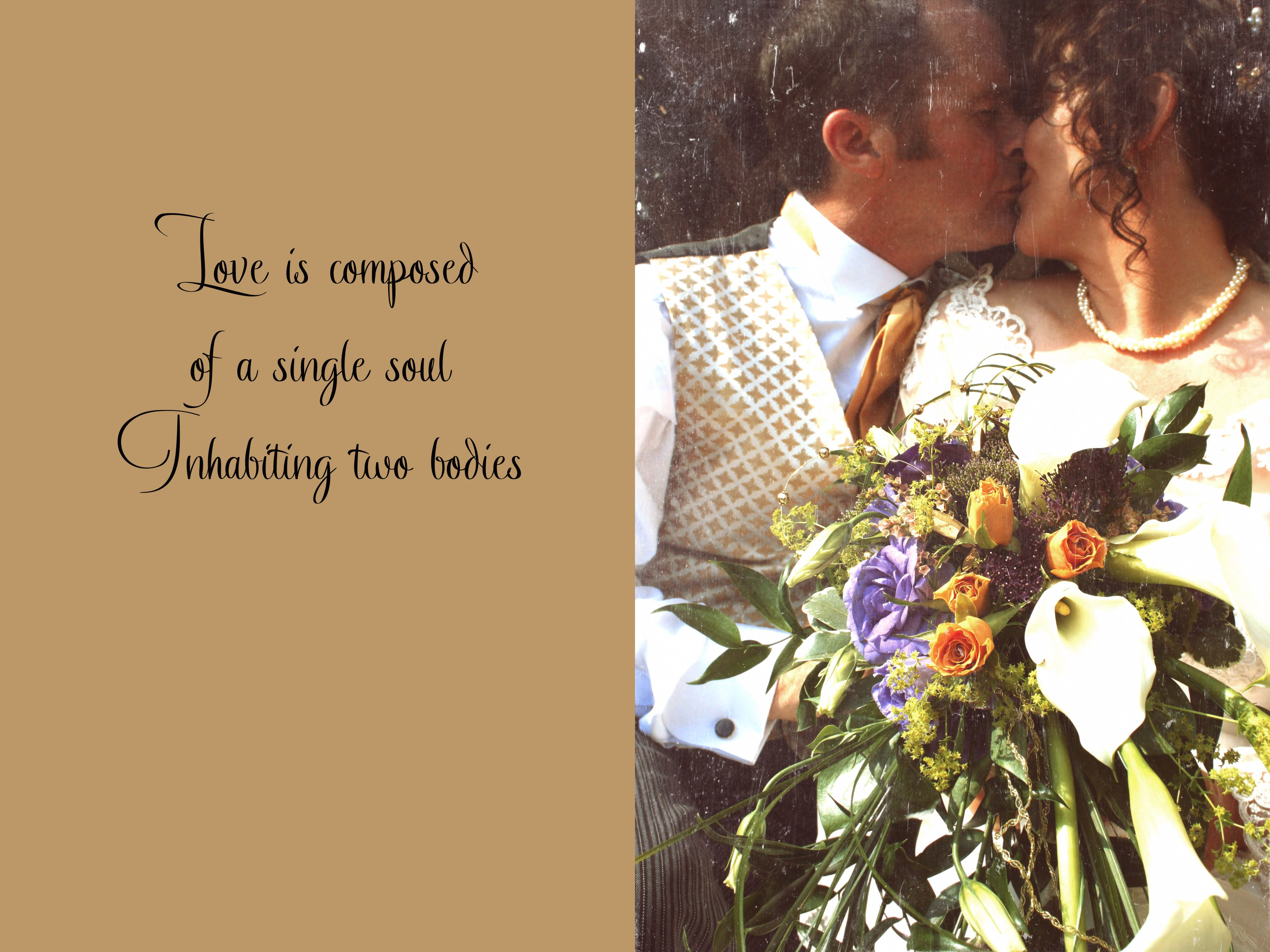 a wedding day kiss with a quote from a love poem