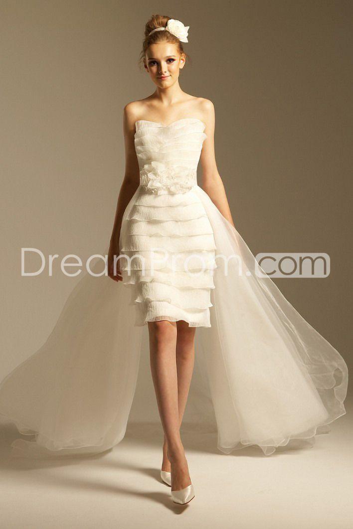 Elegant Sheath/Column Strapless Mini/Short-length Removable Train Tiered Wedding Dresses