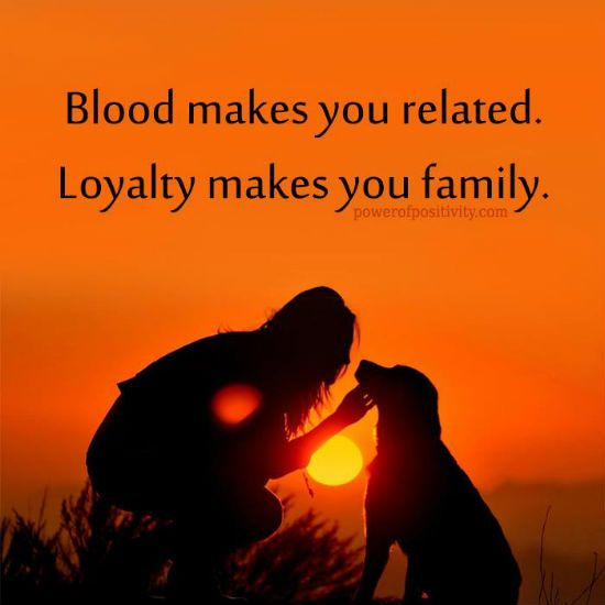 Blood makes you related, Loyalty makes you family - Quote.