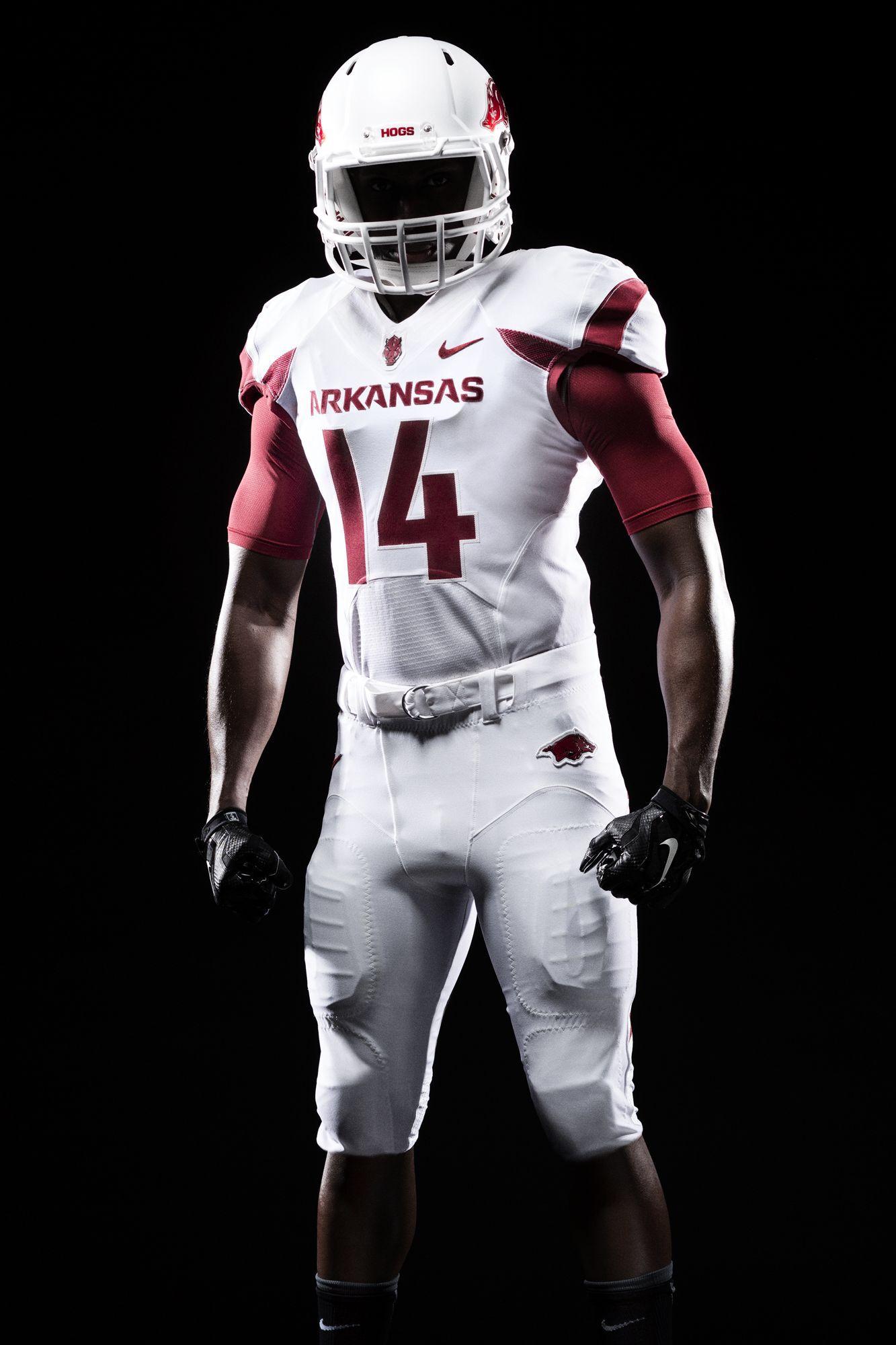 Arkansas Razorbacks Uniform White Arkansas Football Football Uniforms College Football Uniforms