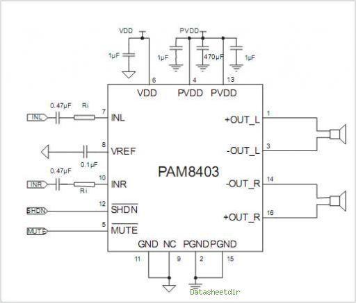Pam8403 Amplifier Data Sheet