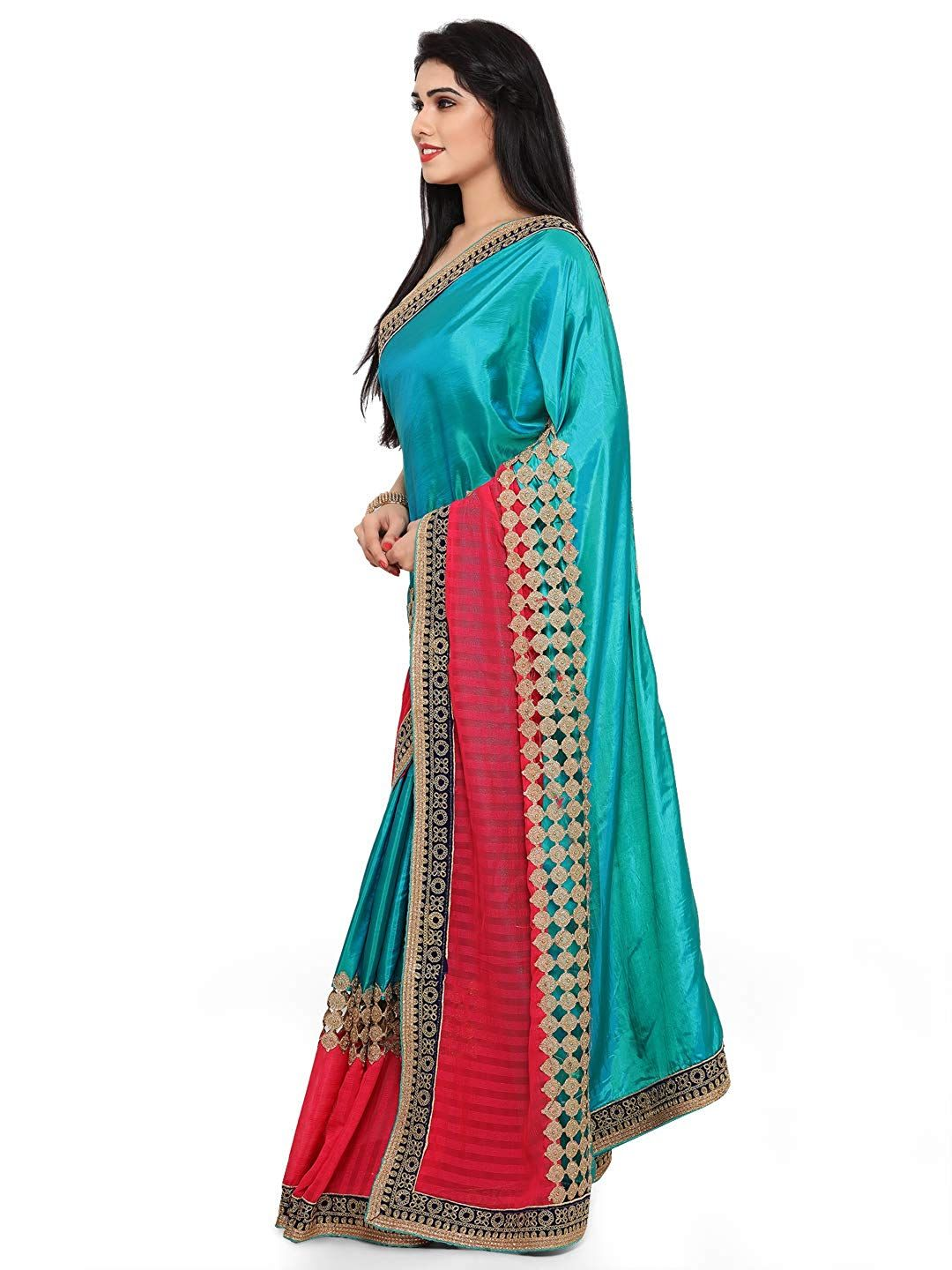 96c48b354a585 Womanista Georgette Saree with Blouse Piece (FS09238A Teal and Pink One  Size)  Amazon.in