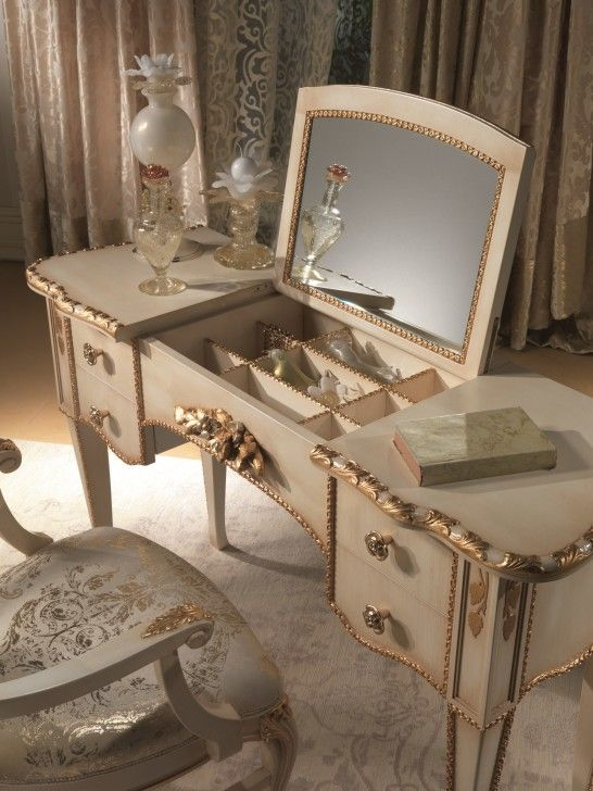 Antique Vanity Sets with antique beige dressing table and classic mirror  added by vintage beige curtains - Antique Vanity Sets With Antique Beige Dressing Table And Classic