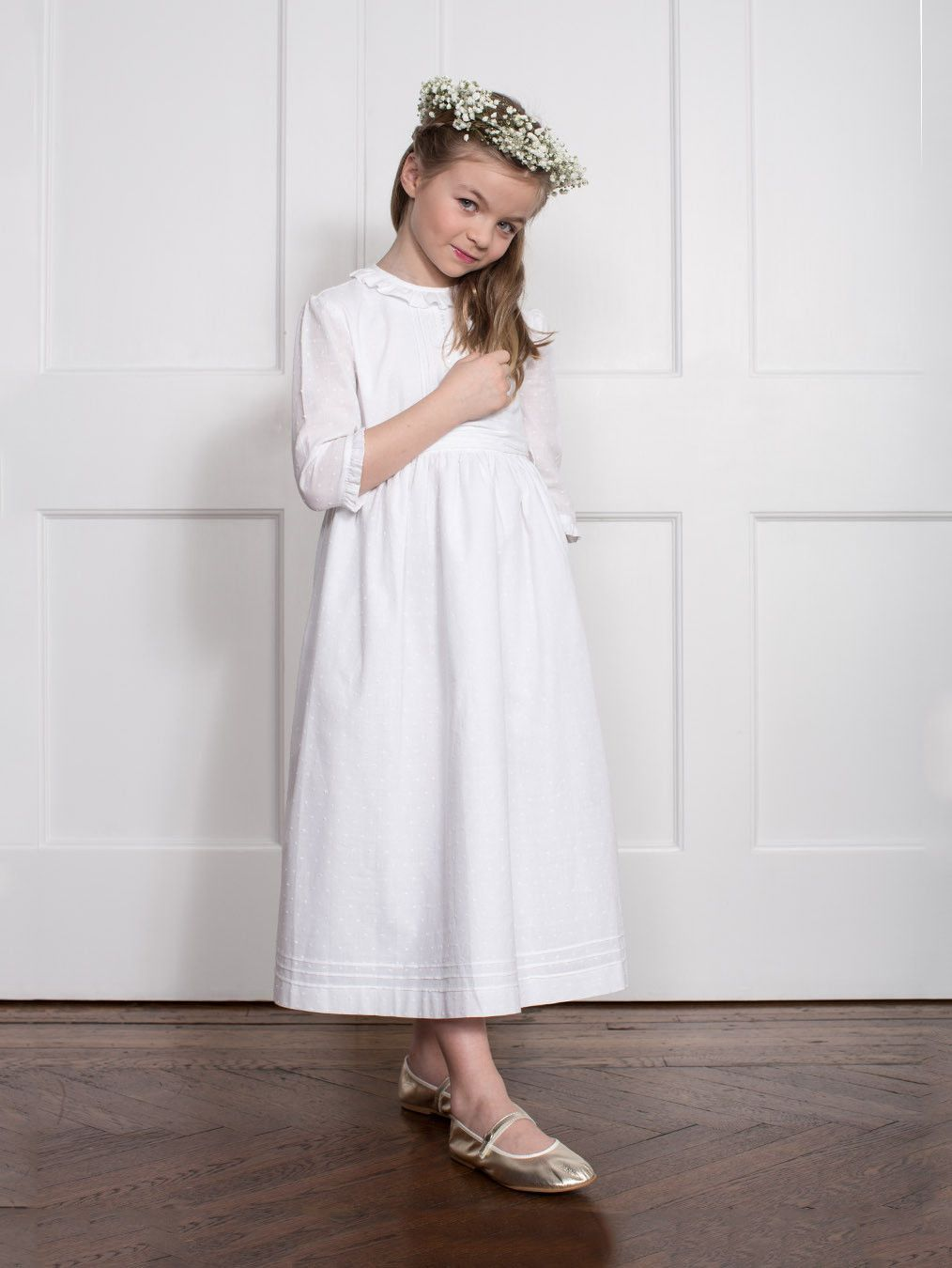 7cf179ac563 Classic Soft White Mini Pin-Tuck Empire Communion Dress with Beige Satin  Ribbon