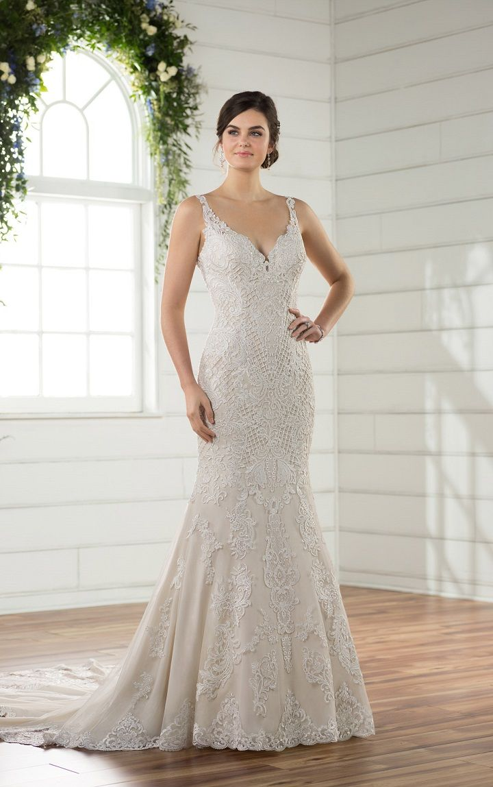 Vintage Inspired Wedding Gown Floating Back Straps Meet At The End Of A Very