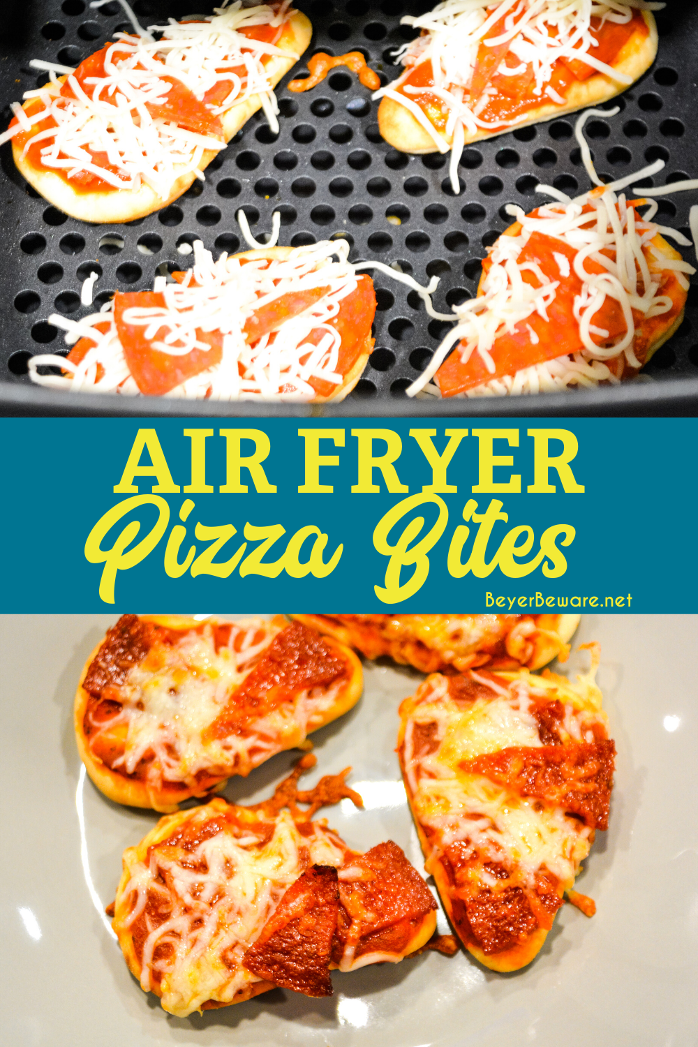 Air fryer pizza bites on naan bread are a simple snack or