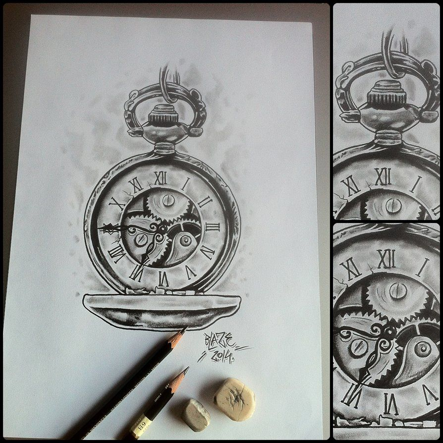 Old clock with mechanic pencil drawing by Blaze