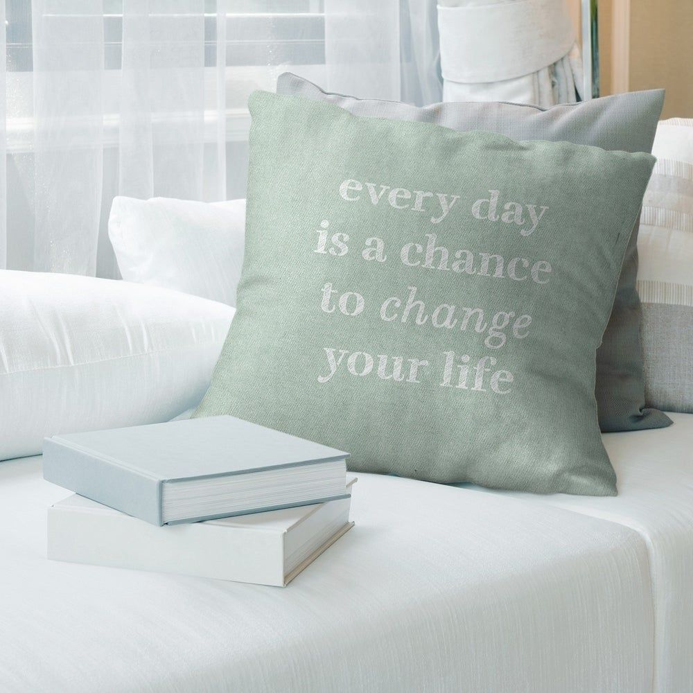 Quotes Handwritten Change Your Life Quote Pillow Faux Linen 20 X 20 Square Zipper Closure Large Linen Removable Cover Accent Green In 2020 Pillows Pillow Inspiration Pillow Covers