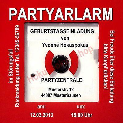 Schön 10 EINLADUNGSKARTEN PARTYALARM Geburtstag 25 30 40 50 60 70 Einladungen