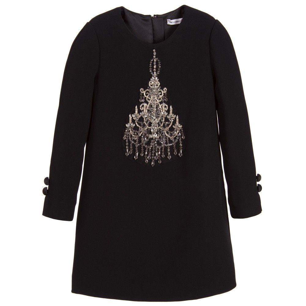 Girls elegant black dress by dolce u gabbana made in a soft viscose