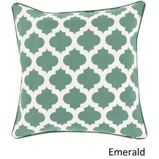 Decorative 18-inch Poly or Feather Down Filled Pillow (Down - Emerald), Green(Cotton, Geometric)