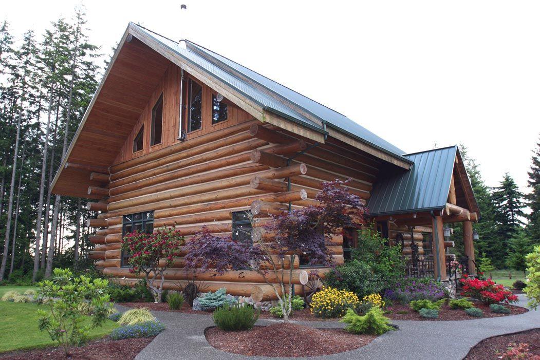 landscaping log home