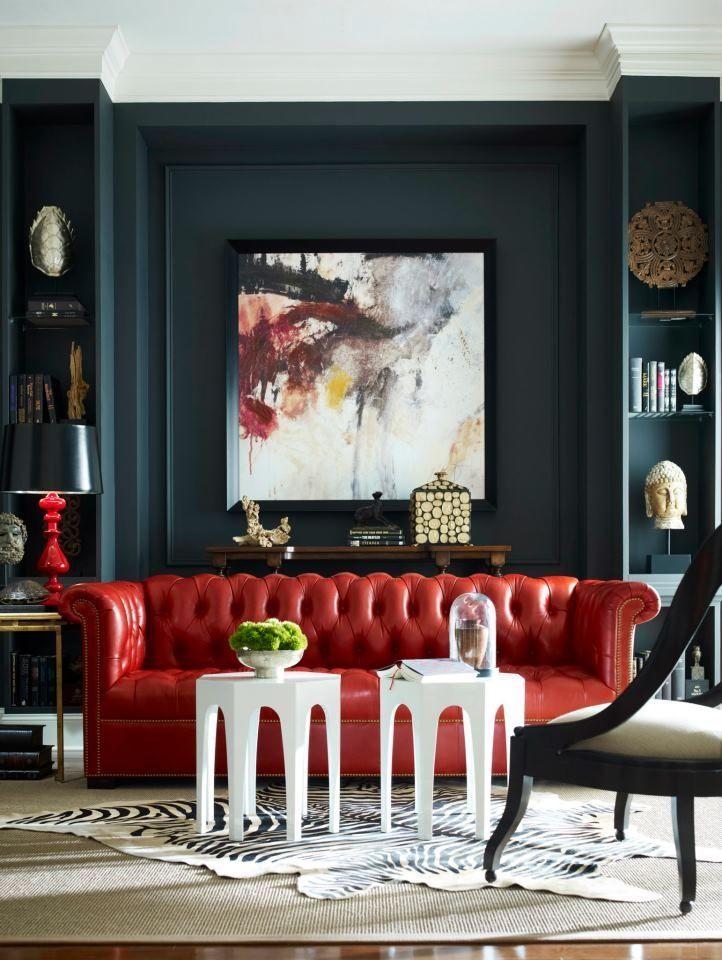 Living Room Decor House Interior, Dark Red Color Leather Sofa