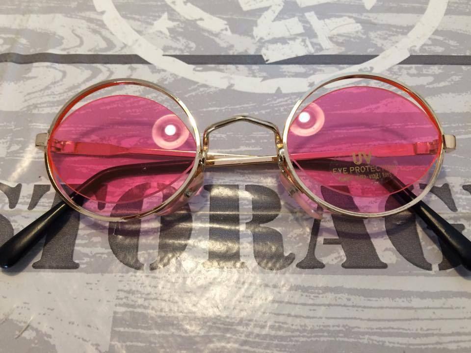 1 Sonnenbrille im 70s Style Stil rosa Hippie Goa Brille Retro Vintage rund 70er