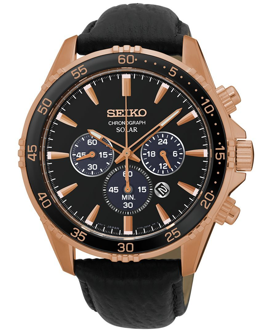 fb5c51bb96d Seiko Men s Solar Chronograph Black Leather Strap Watch 44mm SSC448