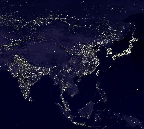 Asia from space with great outlines of japan china for 3d outer space map