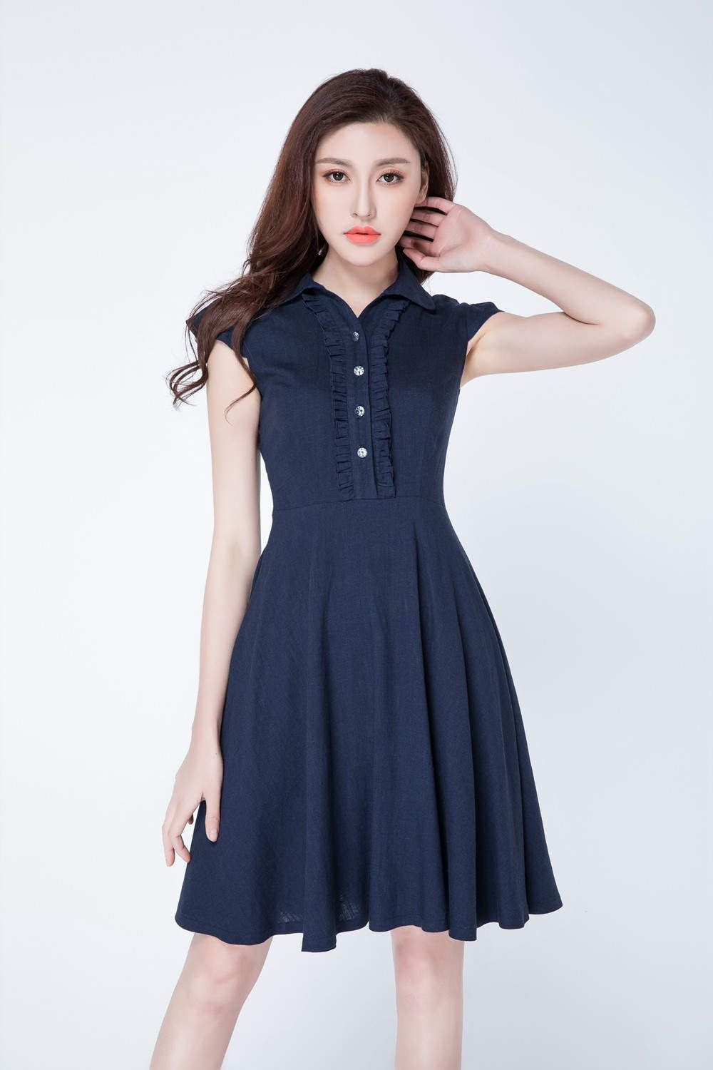 Navy blue short dress linen shirt dress cute dress cap sleeves