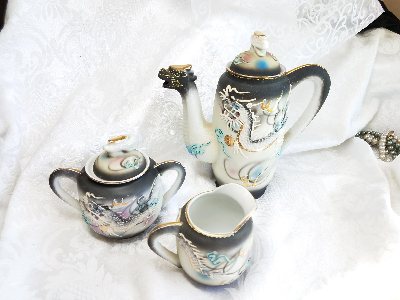 Vintage Dragon Ware Tea Set With Blue Eyed Dragon Teapot