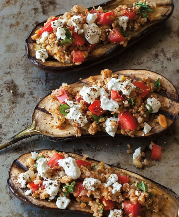 grilled eggplant stuffed with bulgar, feta, and pine nuts