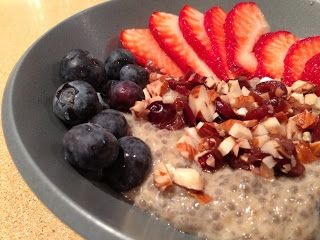 Chia Seed Banana Breakfast Bowl  Chia Mixture: 4 T chia seeds 1 1/4 c unsweetened soy milk 2 bananas, mashed 1/2 t vanilla extract Cinnamon to taste  Topping: 2 T dried cranberries 2 T raw almonds, chopped Fresh fruit (I used blueberries and strawberries) Cinnamon to taste