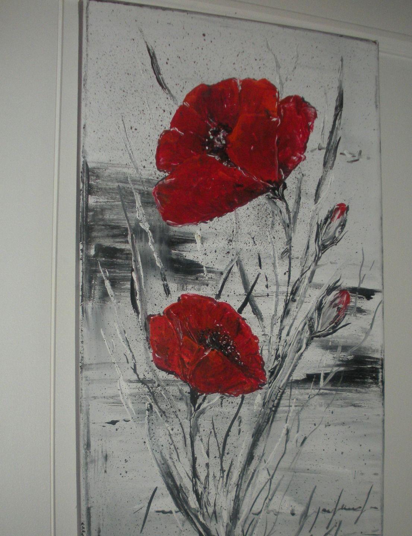 Elegant Coquelicot Rouge Profond Sur Fond Gris Peintures Par