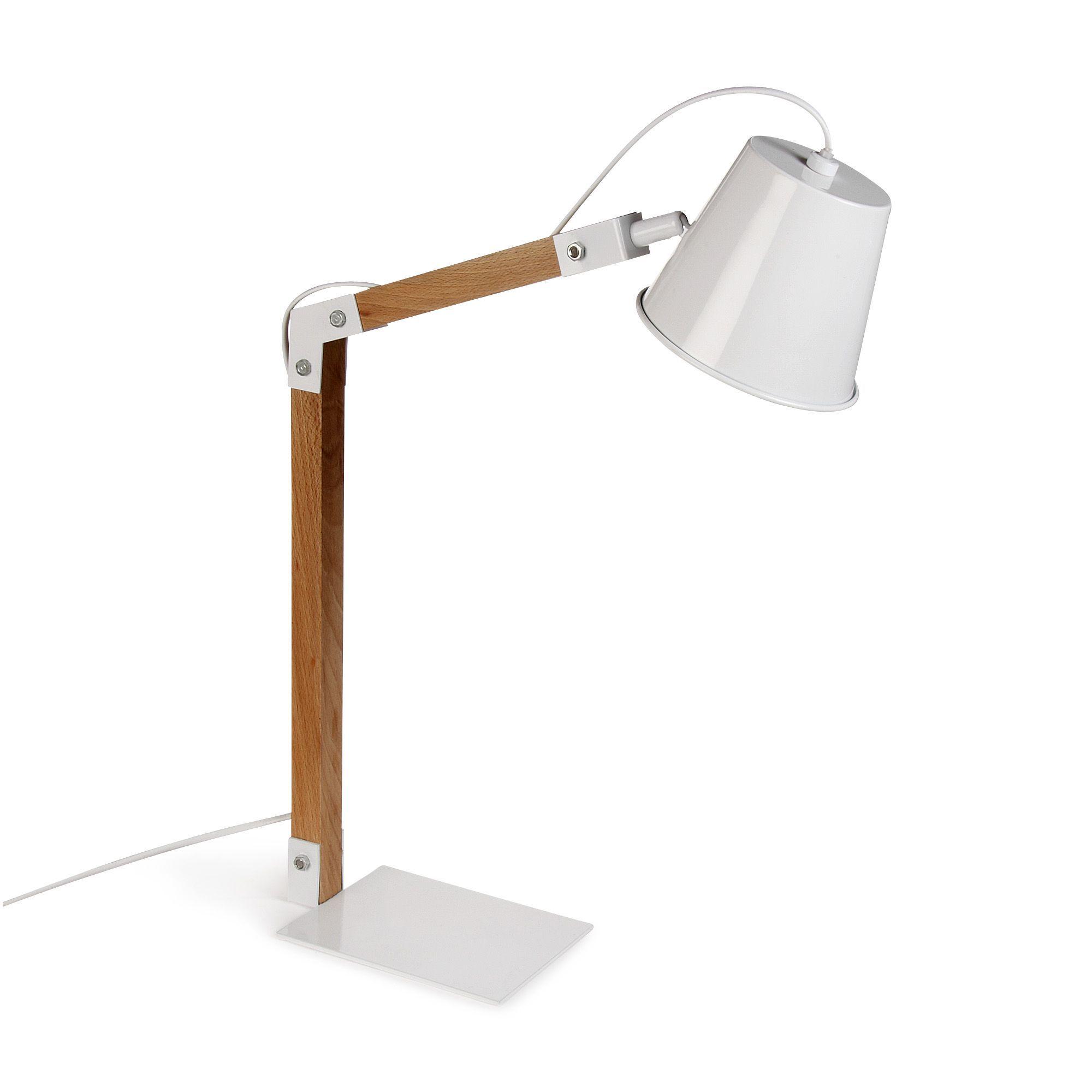 Lampe  poser ACIER BOIS H58cm Blanche Kup Les lampes  poser