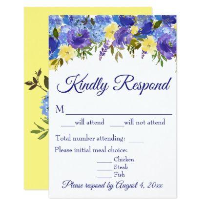elegant blue yellow floral wedding response card wedding