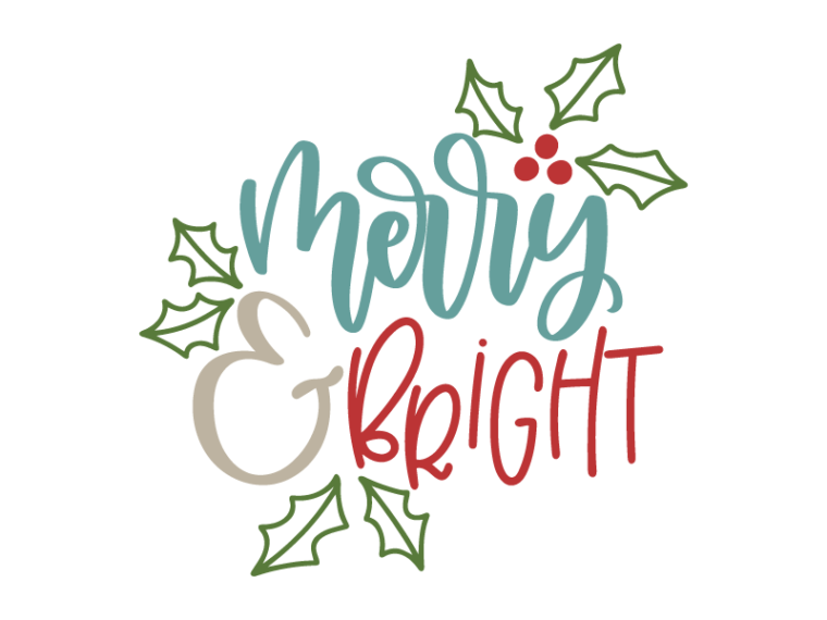 Free Merry & bright SVG DXF PNG & JPEG Christmas phrases
